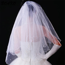 Woman Tulle Edge Beaded Wedding Veils Two Layer White Ivory Short Bridal Veil Simple Accessories NO Comb Veu De Noiva