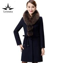 Leiouna 2017 New Female Ladies Winter Jacket Long Fur Collar Solid Color Woolen Women Plus Size 4xl Coat Camel Hair Thick