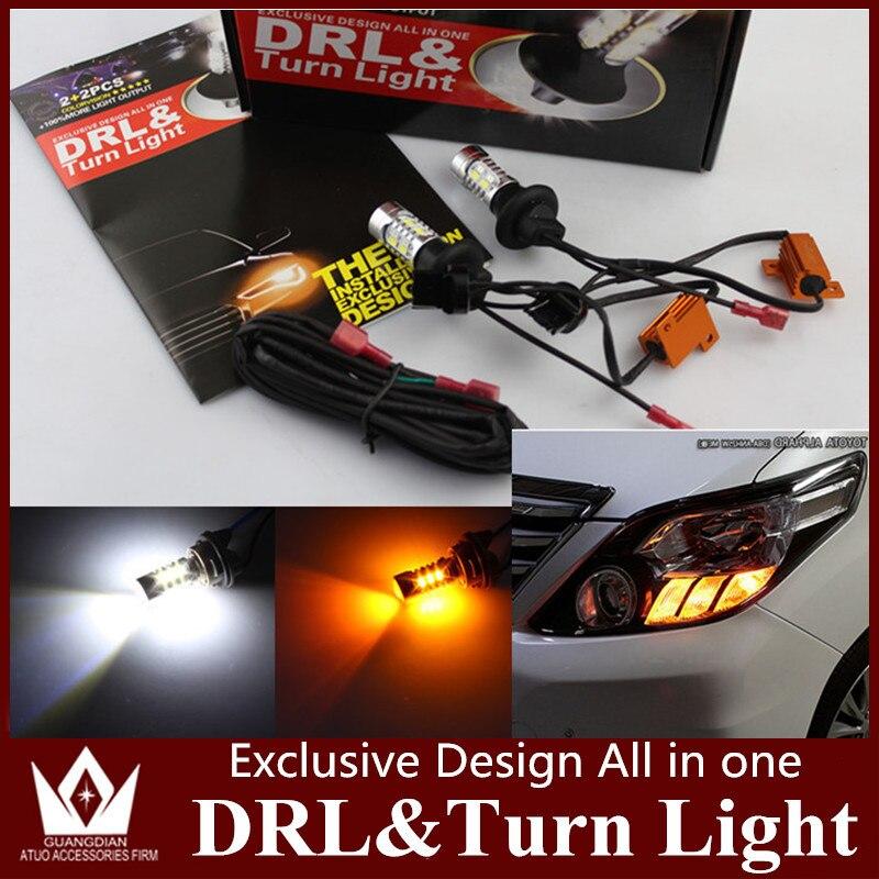 Tcart водить авто 3157 3457 P27W T25 LED Поворотники передние и Габаритные огни DRL Для Nissan листьев