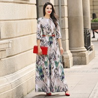High Quality Fashion Brand Red Long Dress 2017 Spring Women Small Elegant Floral Embroidery Gauze Special