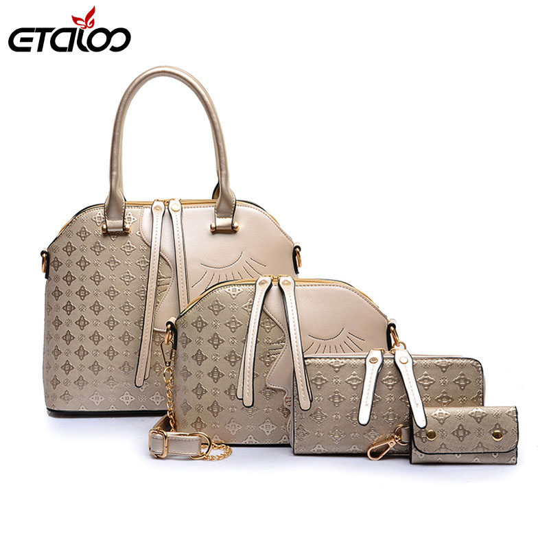 2017 Fashion Women Messenger Bags Handbag 4 pieces Set PU Leather Composite Bag