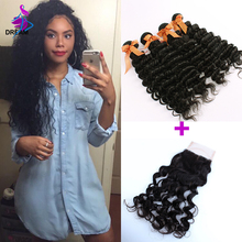 4 Bundles Malaysian Hair Deep Curly With Closure 8A Cheap Virgin Hair With Lace Closure 4x4