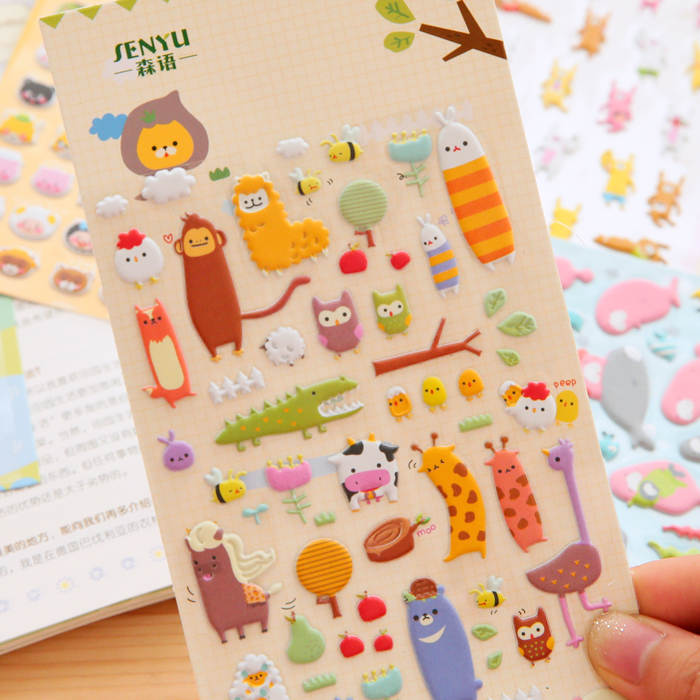 SST 1 Sheet Cute Zoo Cartoon Stickers Kids Toys 3D DIY Kawaii Diary Decoration Scrapbooking kindergarten