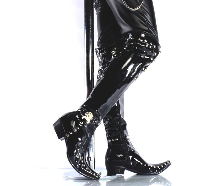 2017 Handmade Fashion White Leather Club Mens Pointed Rivet Comfort Knee High Tube Long Boots Sexy Motorcycle Punk Boots
