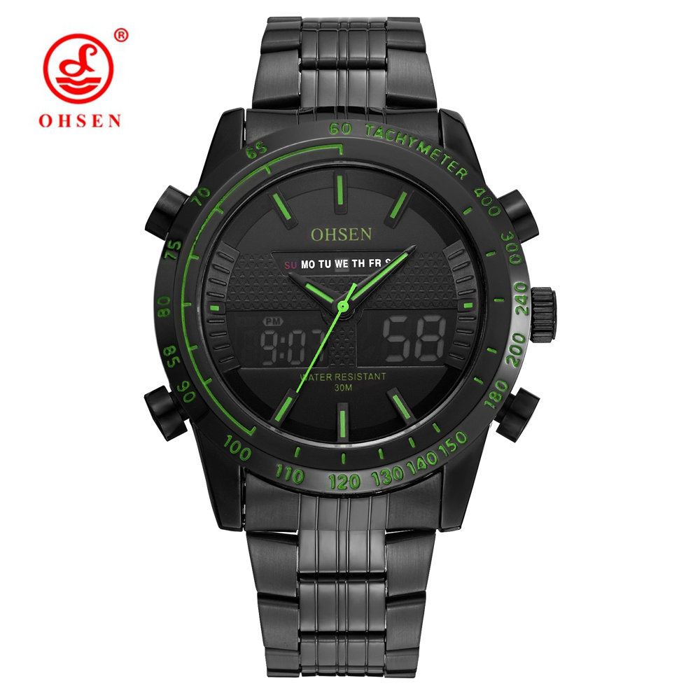 NEW OHSEN Sports Wristwatches Military Watch Men Waterproof LED Stainless Steel Band Clock Analog Digital Fashion
