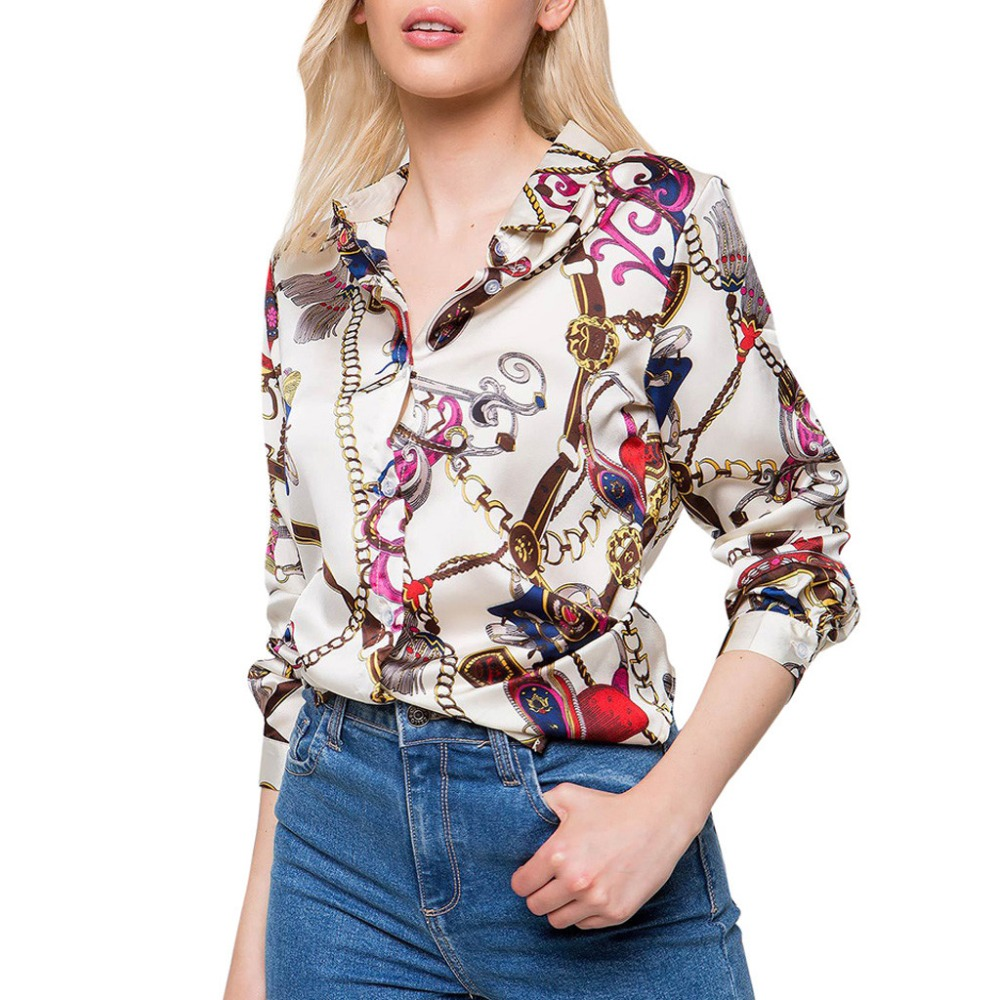 Spring Summer Women Blouse Tops Fashion Chains Print Long Sleeve Shirts Woman Casual Office Blusa Feminina Chemise Femme s066