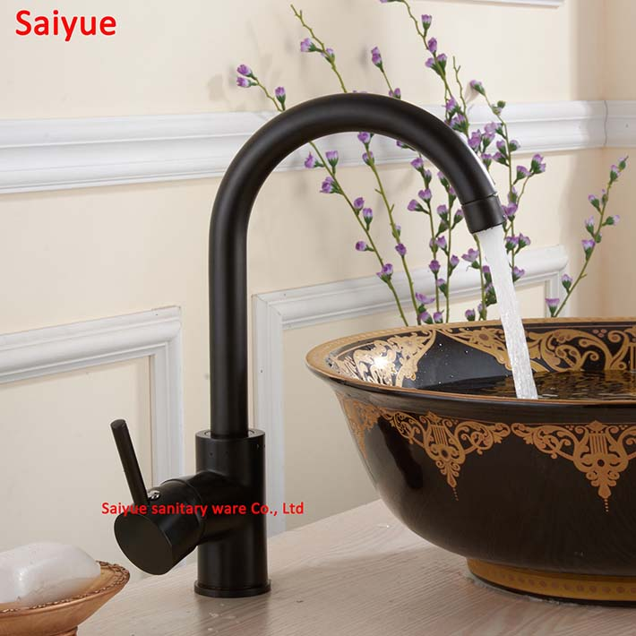 New charming oil rubbed bronze kitchen faucet antique black brass hot and cold water mixer sink