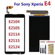 For Sony Xperia E4 E2104 E2105 E2114 E2115 E2124 LCD Display Monitor + Front Touch Screen Digitizer Sensor + Adhesive + Kits для sony xperia e4 dual e2104 e2105 стекло экран протектор фильм для sony xperia e4 dual e2104 e2105 e2114 e2115 стекло экран прот