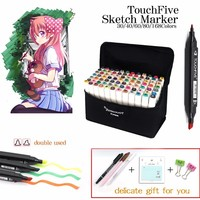 TOUCHNEW 168 Black Color Dual Head Art Marker Set Alcohol Sketch Markers Pen For Artist Drawing