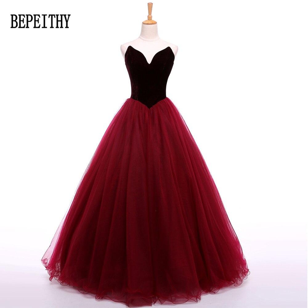 BEPEITHY Vestidos De Festa Elegant Simple hijab Tulle Sweetheart Sleeveless Burgundy   Prom     Dresses   2019