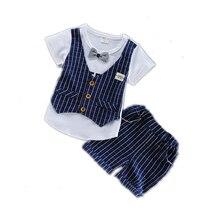 Fashion 2019 Children Tracksuits Baby Boys Girls Short T-shirt Shorts 2Pcs/sets Summer Kids Plaid Bowknot Pure Cotton Clothes