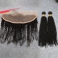7A Tecer Cabelo Humano Lace Frontal Encerramento Com Feixes de Cabelo Encaracolado Malaio Sexy Fórmula Cabelo Da Malásia Kinky Curly Virgem Cabelo