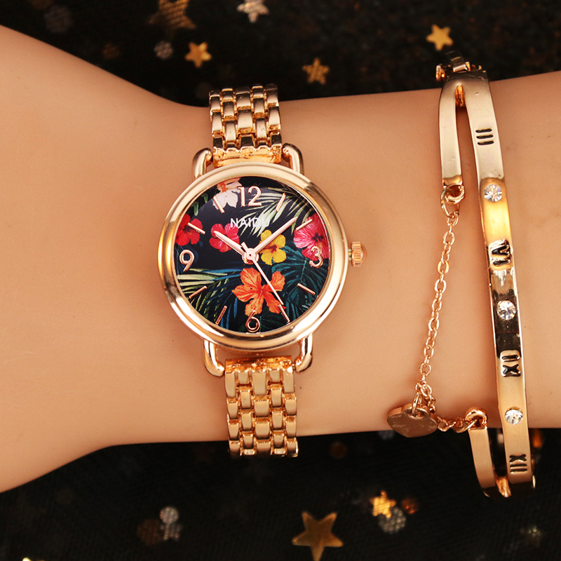 New Luxury Women Watches NAIDU Flower Print Ladies Bracelet Watch Womens Quartz Dress Wristwatch Feminino Reloj Mujer Kol Saati