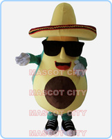 mascot mexican avocado mascot costume with a big hat and sunglasses adult size cartoon fruit theme anime cosplay costumes 2592