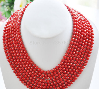 """xiuli 0014935 Real 8row 16""""~22"""" 6MM round red coral bead necklace"""