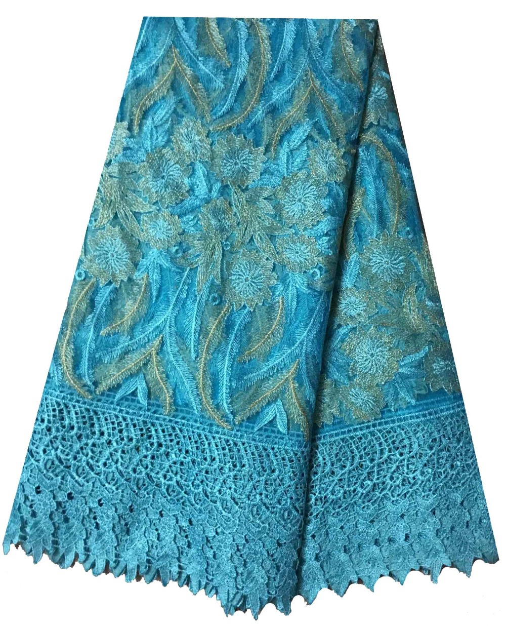 New Design African Lace Fabric 2017 Sky Blue Color French