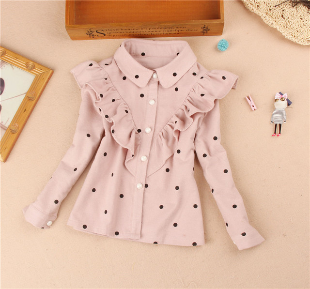 2018 Autumn Girls Tops And Blouses Kids Clothes Children Clothing School Girl Ruffle Blouse Floral Print Cotton Child Shirt2-16Y