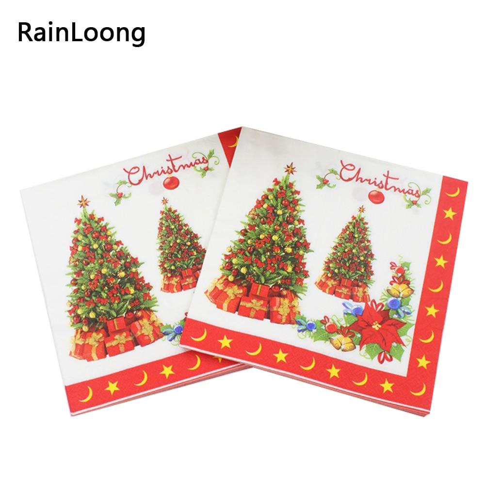 Gıda dereceli Noel Ağacı Peçeteler Şenlikli ve Parti Doku - Tatiller ve Partiler Için