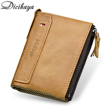 DICIHAYA Genuine Leather Men Wallet Short Coin Purse Small Vintage Double Zipper Soft Cowhide Brand Male