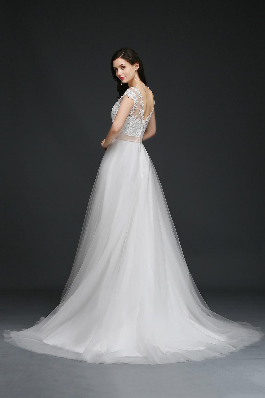 Дешевое свадебное платье в Корейском стиле с шлейфом vestido de noiva длинное свадебное платье es A конец линии рукав Свадебная невеста, свадебное п... - 5