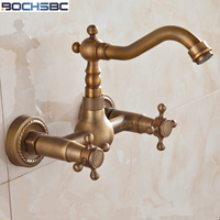 BOCHSBC Antique Wall Mounted Tap European Vintage Shower Faucet 360 Degree Rotatable Full Copper Bathroom Faucet