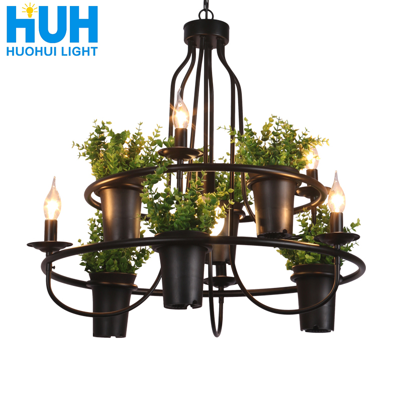 Vintage Lamp Plant Flowerpot 4/7 Head Iron Pendant Lamp Art E14 Light Creative Restaurant Cafe Bar Personalized Pendant Lamp