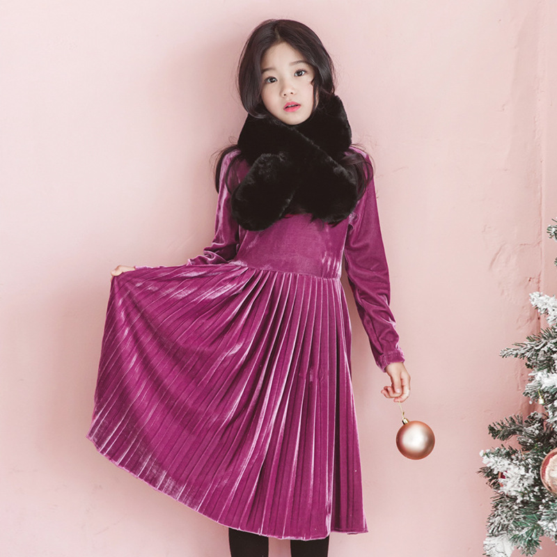 Girls Warm Winter Dresses Long Sleeves Pleated Velvet Dress Autumn Big Little Girl Age 6 9 11 13 velvet turtleneck pleated dress