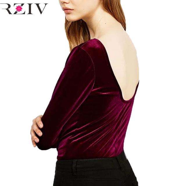 RZIV 2016 t camisa de las mujeres de color sólido ocasional Delgado sin respaldo de manga larga de terciopelo superior