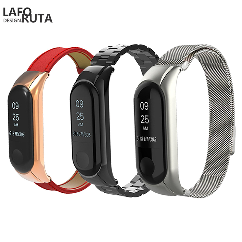 Laforuta Mi 3 Wristband for Xiaomi Metal Bracelet Miband Leather Belt Men Women Replacement Watchband Strap Sport Loop