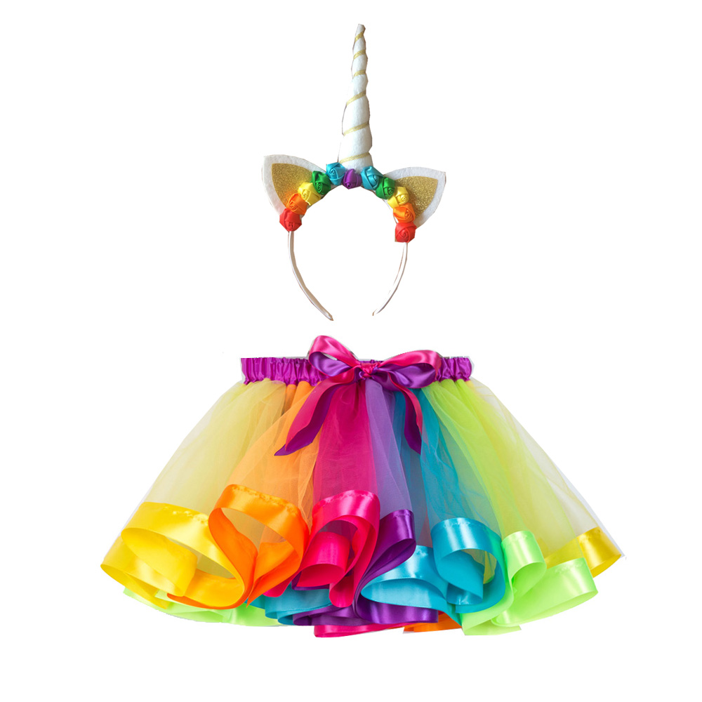 Fashion Sweet Toddler Kids Baby Girls Clothes Tutu Skirt Outfits Summer Cute Children Tulle Skirt + headband Rainbow Skirt ywhuansen 2018 new rainbow cotton skirt sequin embroidery baby girl skirt cute rabbit princess kid clothes tutu skirt tulle pink