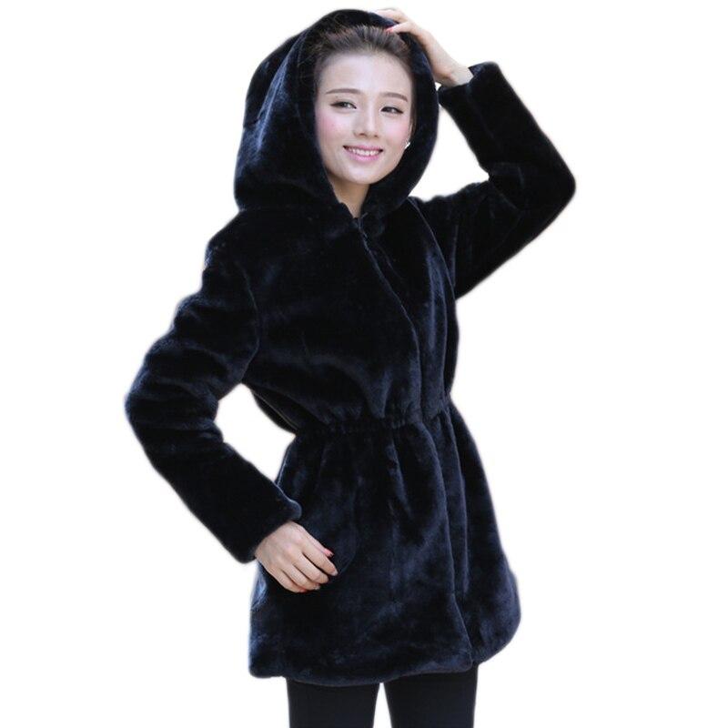 2017 Для женщин искусственного меха пальто Повседневное тонкий зиму искусственной норки куртка с капюшоном черный одноцветное Пальто Толста...
