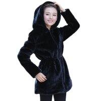 2019 Women Faux Fur Coat Casual Slim Winter Long Faux Mink Jacket With Hood Black Solid Coats Thick Warm Outwear DX635