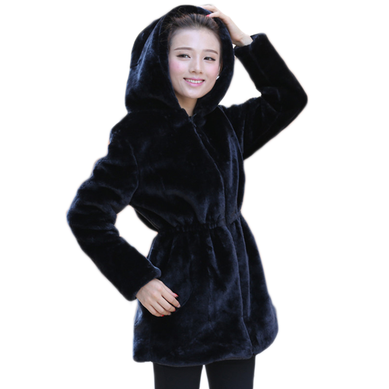 boutique officielle meilleur site détails pour € 33.93 49% de réduction|2019 femmes fausse fourrure manteau décontracté  Slim hiver Long Faux vison veste avec capuche noir solide manteaux épais ...