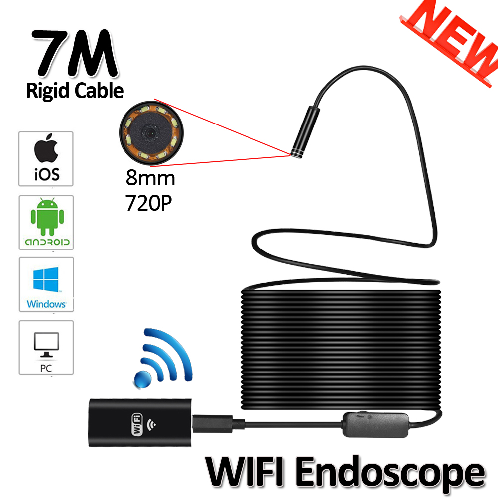 8LED 8mm OD 7M WIFI Endoscope Camera 2MP 720P Snake USB Flexible Hard Wire Iphone Android IOS Pipe Inspection Endoscope Camera gakaki hd 8mm lens 20m android phone camera wifi endoscope inspection camera snake usb pipe inspection borescope for iphone ios