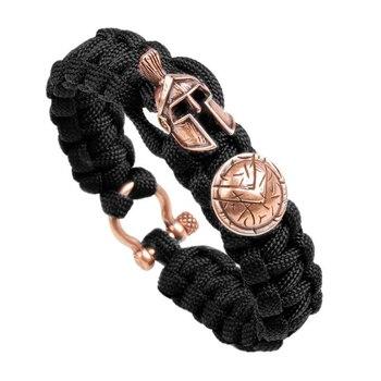 Outdoor Survival Men Bracelet Spartan Helmet Umbrella Rope Bracelets Pulseira Luxury Handmade Rope Bracelet Retro Ladies Jewelry