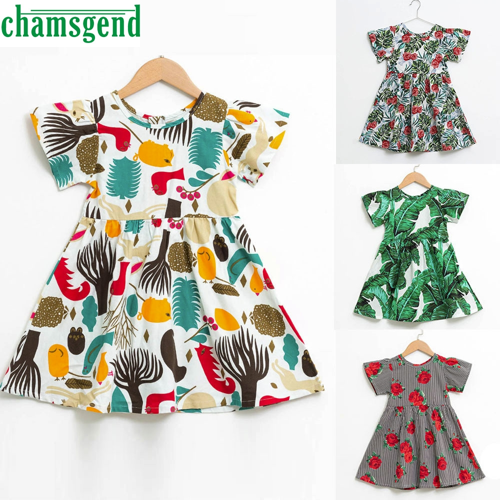 CHAMSGEND Baby Girls Kids Infant Toddle Floral Cartoon Sleeveless Clothes Princess Dress _F12