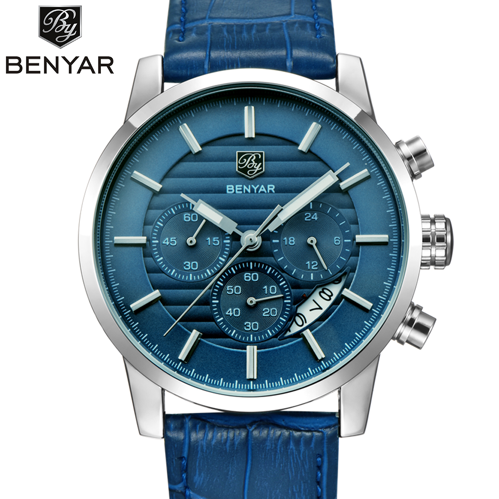 Men's Watches Top Brand <font><b>BENYAR</b></font> Calendar Function New Arrival Fashion Men Leather Quartz Watch Men Waterproof Relogio Masculino image