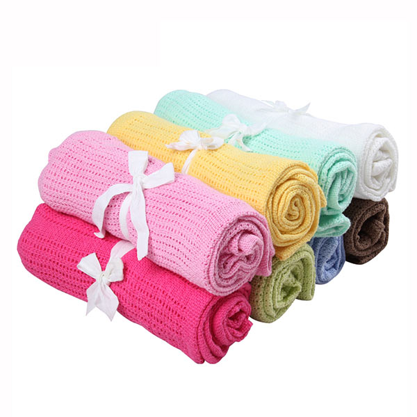 1PCS 80x100cm Knitting Baby Blanket 100% Cotton Newborn Bedding Swaddle Cartoon Crothet Towel Infant Nursling Breathable For kid