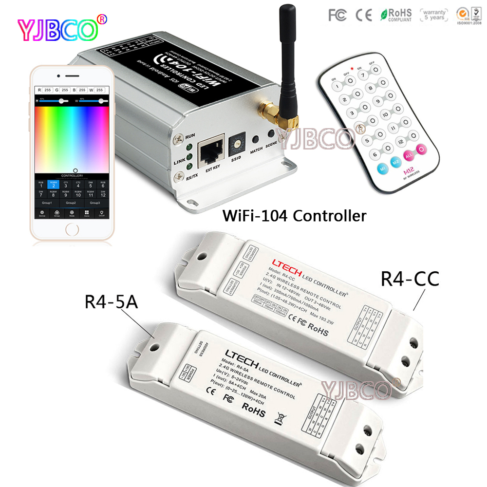 new ltech led wifi rgb controller wifi 104 ux8 touch panel rgb controller v8 remote and cv cc wireless receiver r4 5a r4 cc R4-5A /R4-CC Zone Receiver;WiFi-104 LED wifi controller & M12 IR remote 2.4GHz WiFi supports max12 zones control for led strip