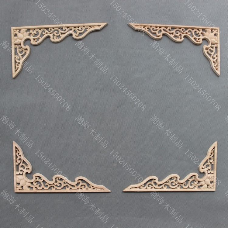 Dongyang Wood Carving Carved Applique Chinese Style Corners Ceiling  Entranceway Motif Solid Wood Furniture Decoration