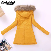 Geckoistail Parkas Women Coats Fashion Autumn Warm Winter Jackets Women Fur Collar Long Plus Size Hoodies Casual Cotton Outwear