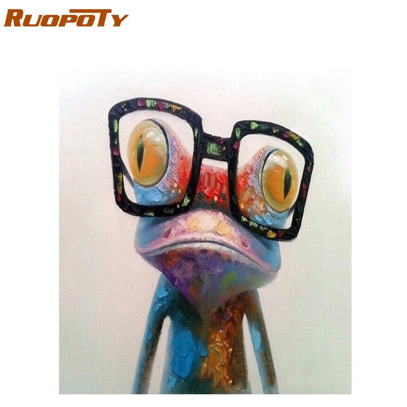 RUOPOTY diy rahmen Malerei Frosch Tiere Malen Nach Zahlen Acryl Bild Handgemalte Ölgemälde Für Einzigartiges Geschenk 40x50 CM