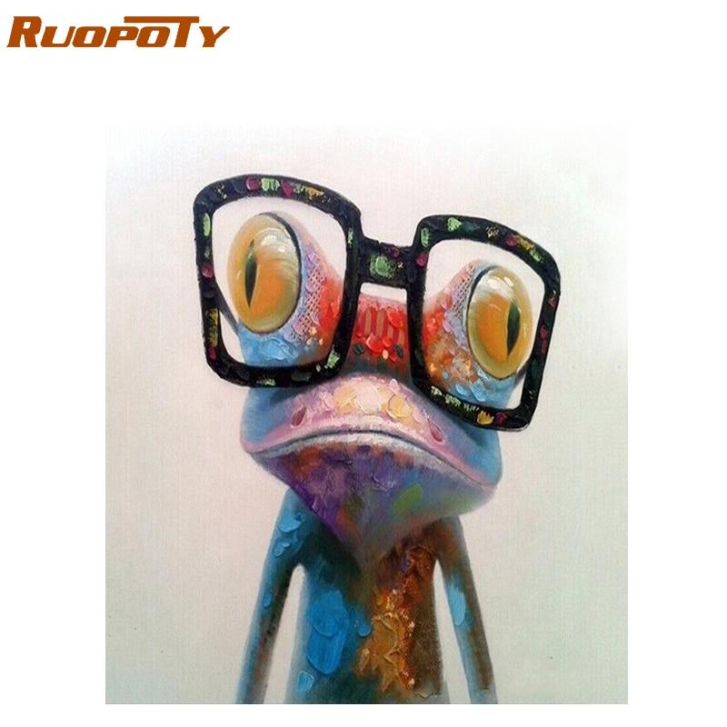 RUOPOTY marco diy pintura Rana animales pintura por números acrílico pintura al óleo pintada a mano para regalo único 40x50 cm