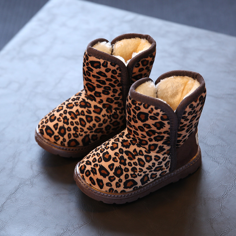 Winter Girls Boots Children Shoes For Boys Girls Snowboots Unisex Coffee Warm Leopard Print Boys boots tenis infantil Size25-36