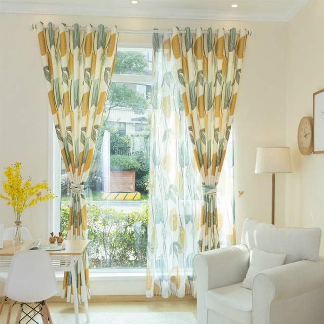 US $12.05 39% OFF|Yellow Leaves Tulle Curtain for Living Room Bedroom Sheer  Curtains Fabric Drapes Nordic Rustic Kitchen Curtains Window Treatment-in  ...