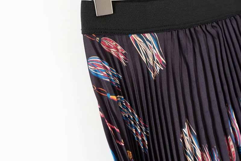 Новинка, Женская винтажная эластичная юбка средней длины с высокой талией и цепочкой, плиссированная юбка faldas mujer, женские Асимметричные повседневные шикарные юбки QUN133
