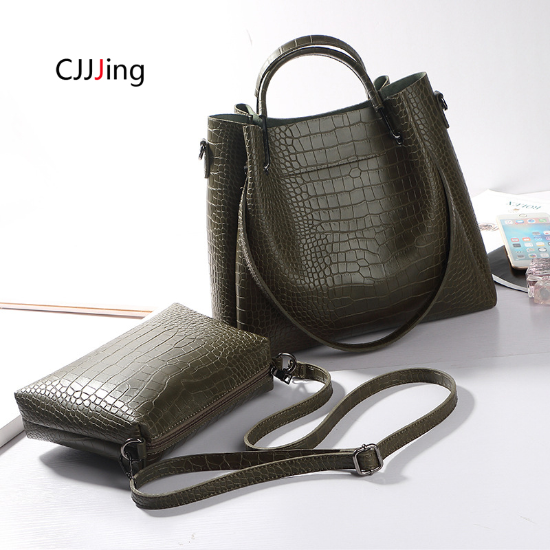 2pcs Women's Handbag Shoulder Bag Alligator Print Tote Handbags Tassels Crossbody Bags Women's Wallet Purse Sac A Main CJJJing
