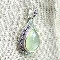 Стерлингового Серебра 925 Природных Хризопраз Водослива Кулон Изящных Ювелирных Изделий