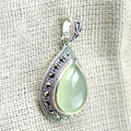 925 Sterling Silver Natural Chrysoprase Pingente Waterdrop Jóias Finas