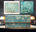 New Fashion Women Wallets Real Leather Long Design Purse Trifold Van Gogh Oil Painting Clutch Zip Coin Bag
